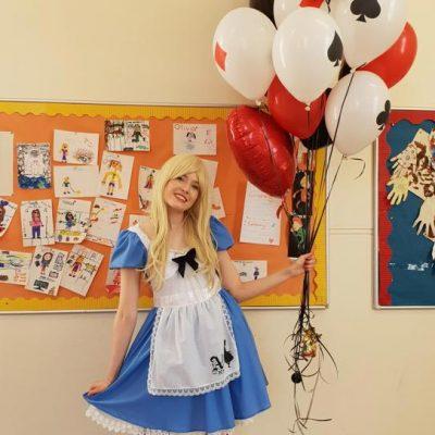 Alice party hearts balloons